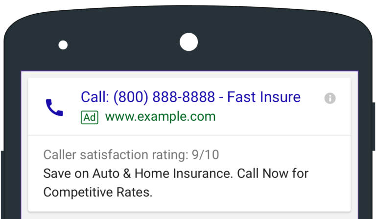 adwords call only ads businessname