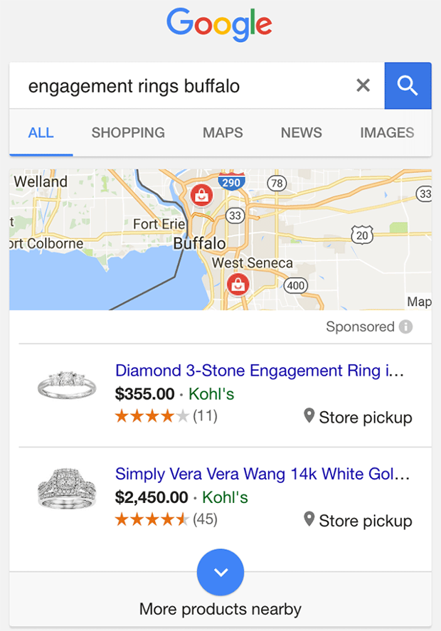 google local pack shopping ads