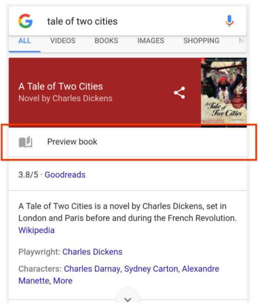 google mobile book previews