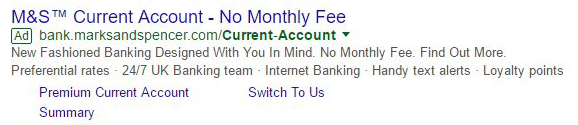 green adwords outlined ad